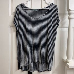 Maurices size L Gray and Navy striped Top